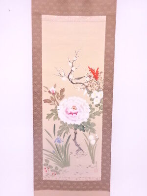 3934913: Japanese Wall Hanging Scroll / Hand Painted / Four Seasons Flowers