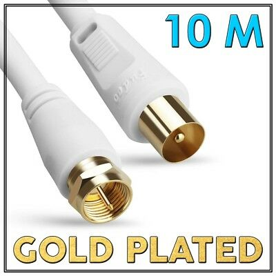 10M GOLD Coax Long Lead TV Antenna Cable PAL Male to F-Type Flylead Aerial Cord