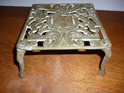Antique Brass Trivet Stand Coat Of Arms Design
