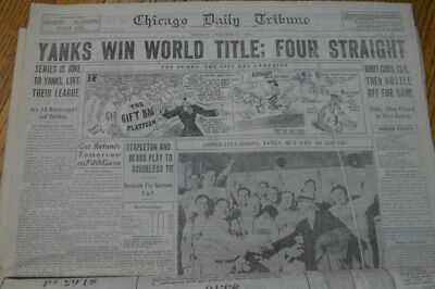 Chicago Daily Tribune 10/3/1932 Yanks Crush Cubs 13-6 Sweep World Series