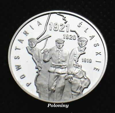 SILVER COMMEMORATIVE 10 ZLOTY COIN OF POLAND - SILESIAN UPRISINGS (MINT) Ag