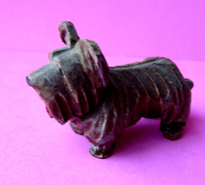 Antique Black Forest Miniature  Wooden Carved Figure Of A Dog.