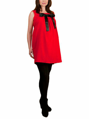 Maternity Pinafore Dress Tunic Size Medium UK 12 Red Smart Designer £90 RRP