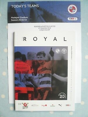 18/19 - READING v SHEFFIELD UNITED (WITH OFFICIAL TEAM SHEET)-CHAMPIONSHIP -MINT