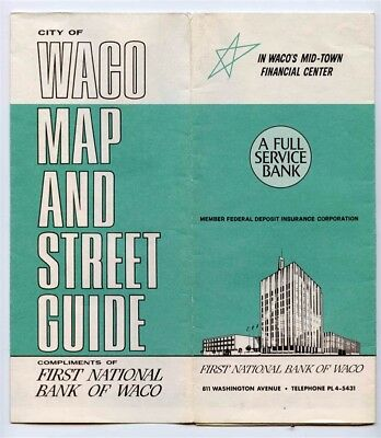 First National Bank Map of Waco and Street Guide of Waco Texas 1960's