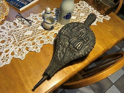 antique 19th century Dutch copper wood leather hand nailed fireplace bellows
