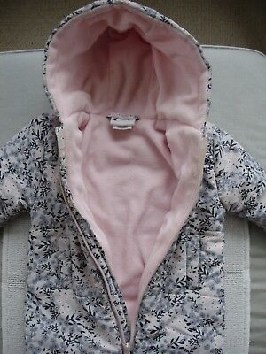Baby Girls Pink & Grey Fleeced Lined Snowsuit Age 9-12 months- Nula Bug