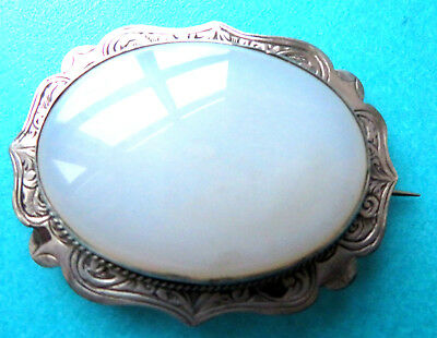 Antique Fine Silver Engraved  Border  Brooch,domed Chalcedony Agate