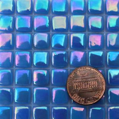 8mm Mosaic Glass Tiles - 2 Ounces About 87 Tiles Iridescent Primary Blue 1