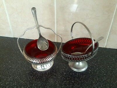 2 Red Glass Preserves Dishes With Original Spoons And Stands.