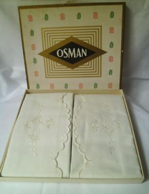 "Pair BOXED Vintage 1950s OSMAN PILLOWCASES 19"" x 36"" COTTON Embroidered CREAM"