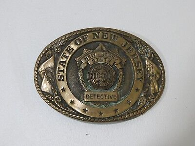Vintage State of New Jersey Detective Brass Belt Buckle,  Creative Casting INC