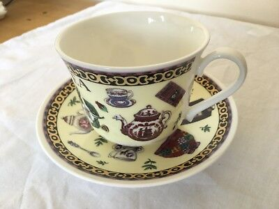 Very Decorative 'TEA' Themed Roy Kirkham Fine Bone China Breakfast Cup & Saucer
