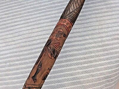 Beautifully Carved & Colour Stained Chinese ? Walking Stick RARE!!! L@@K