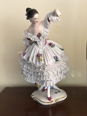 VOLKSTEDT DRESDEN Antique LACE FIGURINE Germany DANCING Woman