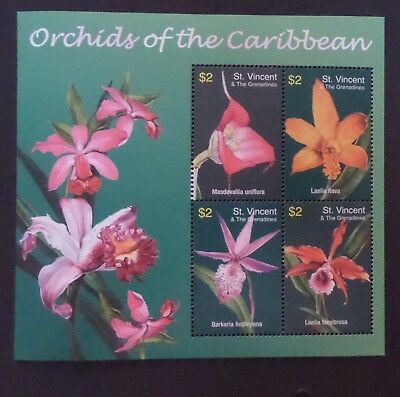 St Vincent 2003 orchids of Caribbean flowers MS5301 MNH UM unmounted mint