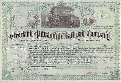 1914 Cleveland and Pittsburgh Railroad Co stock certificate