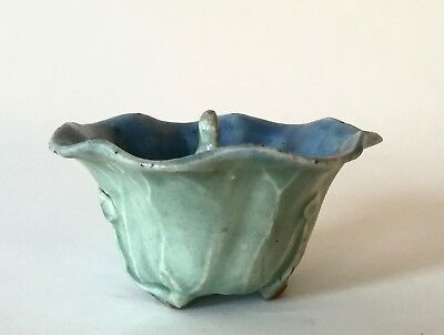 Antique Chinese Celadon-Glazed 'Lotus & Immortal' Puzzle/Trick Cup. Qing Dynasty