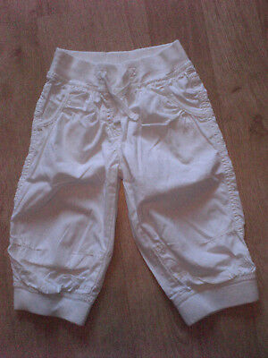 Girls White Cotton Trousers, Next, 4-5yrs