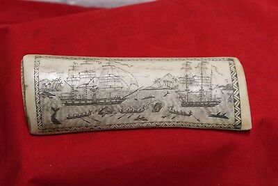 "Scrimshaw Sperm whale tooth resin replica ""The whaler Indian off Tahiti"" 8 1/4"