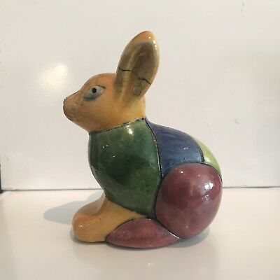 Raku Pottery Animal BUNNY RABBIT Figurine - Hand Made In South Africa
