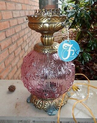 Vintage Fenton Glass Cabbage Rose GWTW Lamp Base Only / Dusty Rose Color / Parts