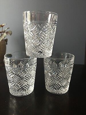 Waterford Crystal Versa Pattern Double Old Fashioned Glasses Set Of 3