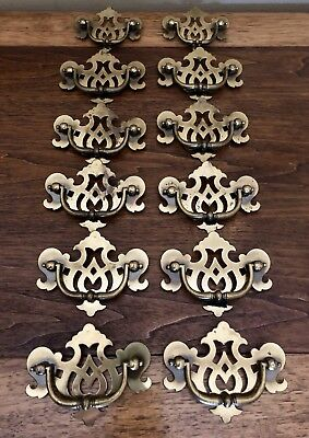 Set of 12 Antique/Vintage Chippendale Solid Brass Drawer Pulls,Hollywood Regency