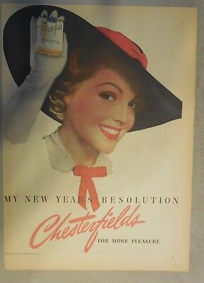 Chesterfield Cigarette Ad: My New Years Resolution! Tabloid Page 1939