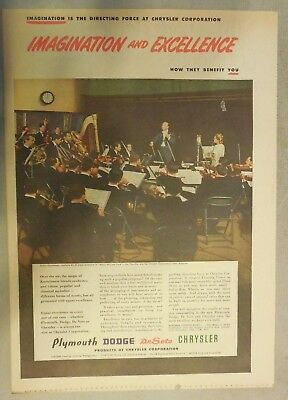 Chrysler War Production Ad: Imagination and Excellence 1946 Size: 11 x 15 Inches