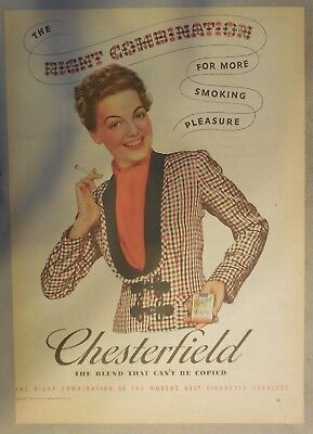 Chesterfield Cigarette Ad: The Right Combination! Tabloid Page 1939