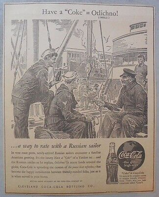 "Coca-Cola ad: Fantastic Frank Godwin Artwork! 1940's 9 x 12 inches ""Russia"""