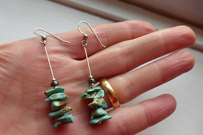 Sterling silver and Turquoise matrix nugget Earrings artisan made