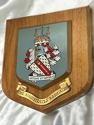 Vintage Heraldic Magistrates Association Coat Of Arms Shield Wall Hanging