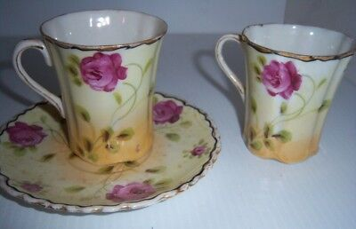 Beautiful PINK ROSES HAND PAINTED japan gold trip Two cups one saucer