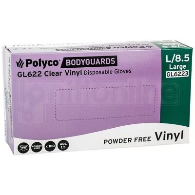 Box of 100 Polyco Bodyguards Clear Vinyl Powder Free Disposable Gloves - Large