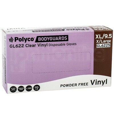 Box of 100 Polyco Bodyguards Clear Vinyl Powder Free Disposable Gloves - X Large