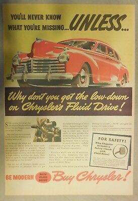 Chrysler Car Ad: You'll Never Know What Your Missing! 1941 Size: 11 x 15 Inches