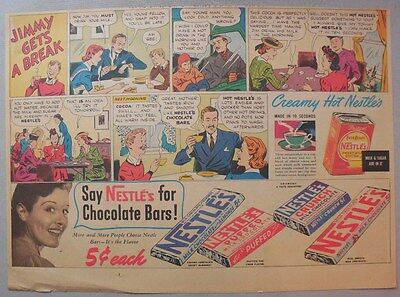 Nestle's Chocolate Bars Ad: Jimmy Gets A Break! 1930's-1940's 11 x 15 inches