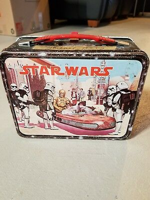 Vintage 1977 Thermos STAR WARS Metal Lunch Box *No Thermos Cup*