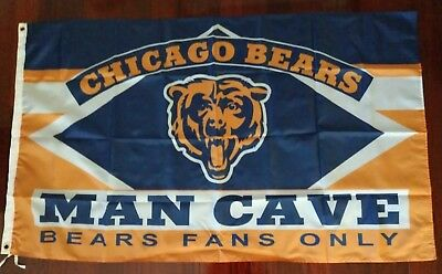 Chicago Bears Man Cave 3x5 Flag. US seller. Free shipping within the US