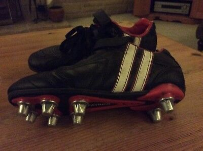 Kids Boys Patrick Black Rugby Boots Metal Studs UK 2