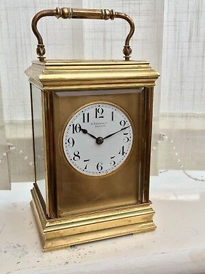Antique French Gilt Masked Dial Striking Carriage Clock C1860 Rare J Kirschbaum