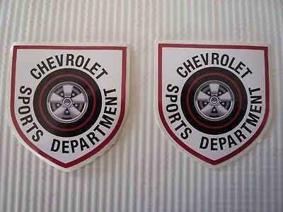 CHEVROLET SPORTS DEPARTMENT  vintage 1960S decal/stickers-drag racing -pair