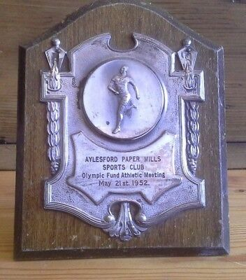 vintage 1952 Athletics silver plate plaque trophy, sporting trophy, aylesford