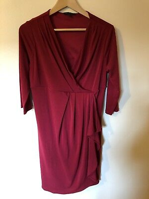 Red Next Maternity Wrap Dress Size 14 Medium Christmas Party Nursing Feeding