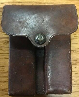 Rock Island 1913 Leather Magazine Pouch Eagle Snap For 2 Colt 1911 45 Magazines