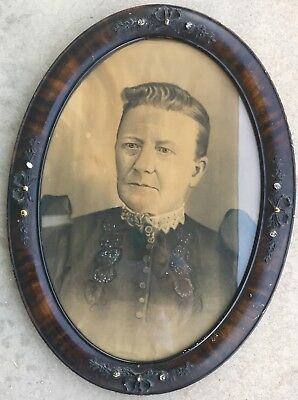 Large Vintage Antique 19th Century Portrait Photo of Woman in Oval Wooden Frame
