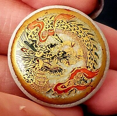 Antique Japanese Satsuma Porcelain Button…Dragon…Loads of Gold...15/16""