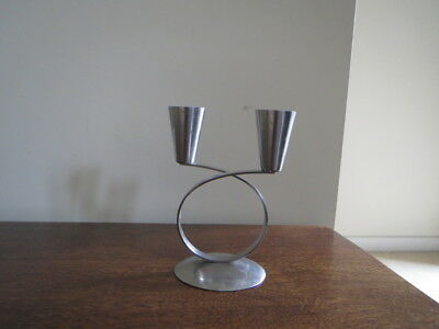 Danish Stainless Steel Candle Stick Mid Century Modern